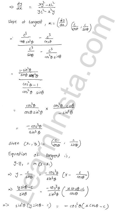 RD Sharma Solutions Class 12 Tangents and Normals Chapter 16 Ex 16.2 11