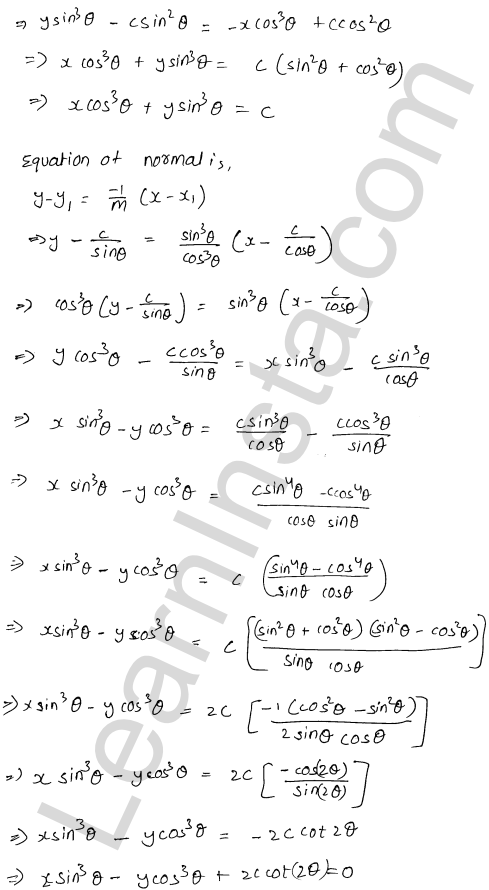 RD Sharma Solutions Class 12 Tangents and Normals Chapter 16 Ex 16.2 12