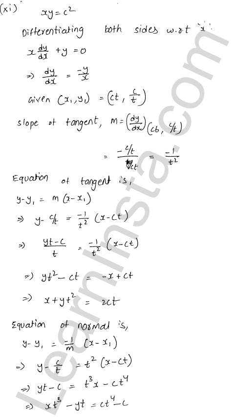 RD Sharma Solutions Class 12 Tangents and Normals Chapter 16 Ex 16.2 13