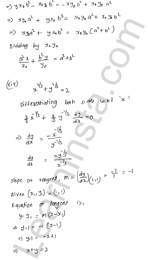 RD Sharma Class 12 Maths Solutions Chapter 16 Tangents and Normals Ex 16.2 17