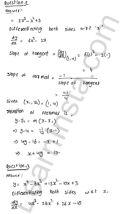 RD Sharma Class 12 Solutions Chapter 16 Tangents and Normals Ex 16.2 2