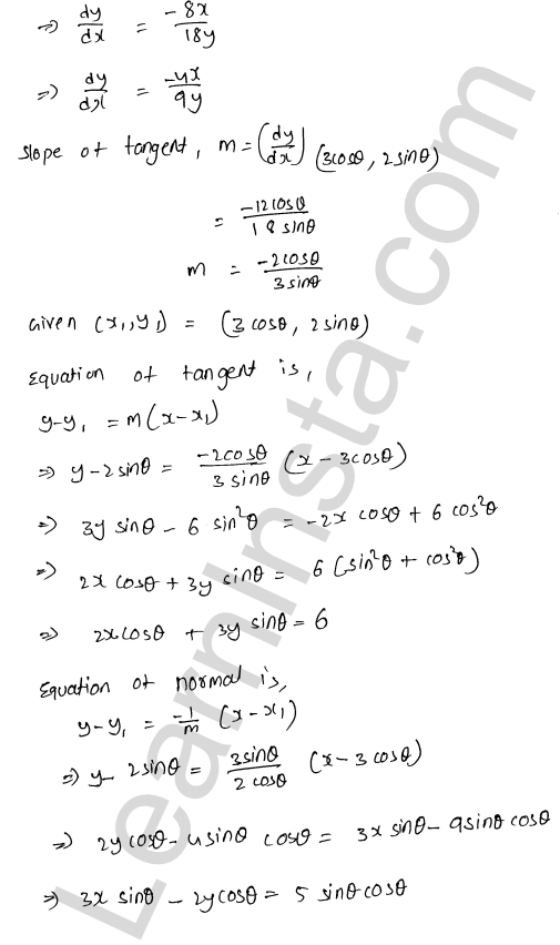 RD Sharma Class 12 Maths Solutions Chapter 16 Tangents and Normals Ex 16.2 20