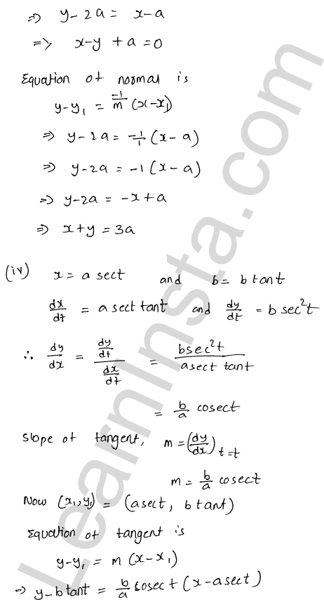 Class 12 RD Sharma solutions chapter 16 Tangents and Normals Ex 16.2 26