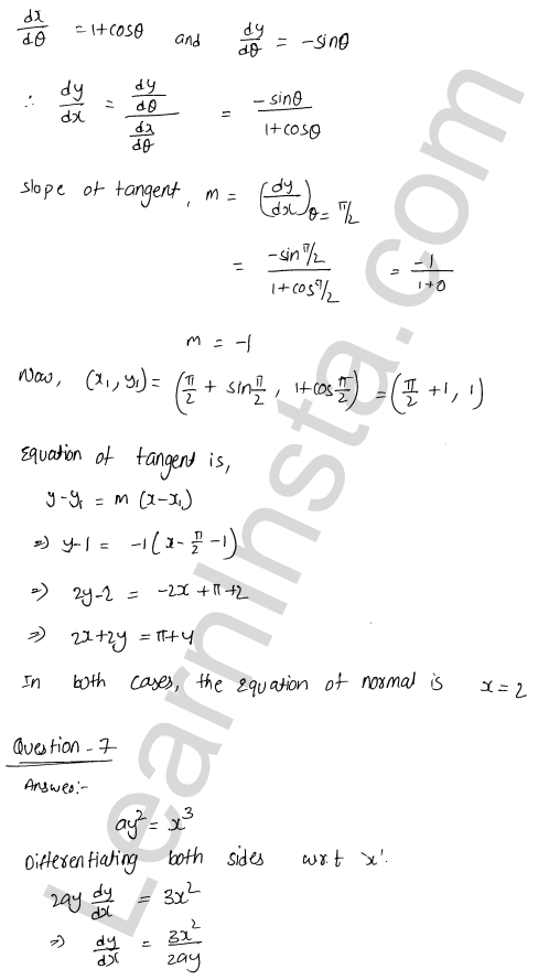 Class 12 RD Sharma solutions chapter 16 Tangents and Normals Ex 16.2 29