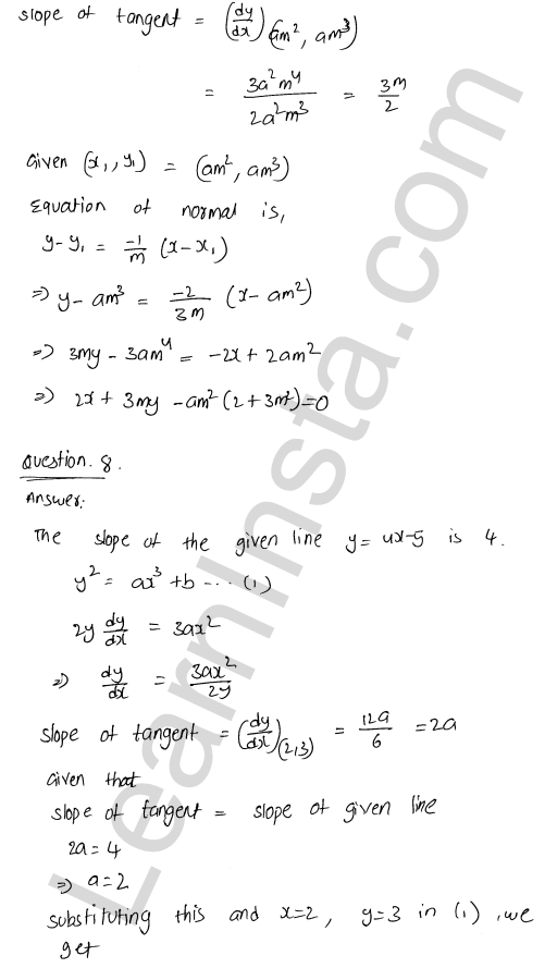 Class 12 RD Sharma solutions chapter 16 Tangents and Normals Ex 16.2 30