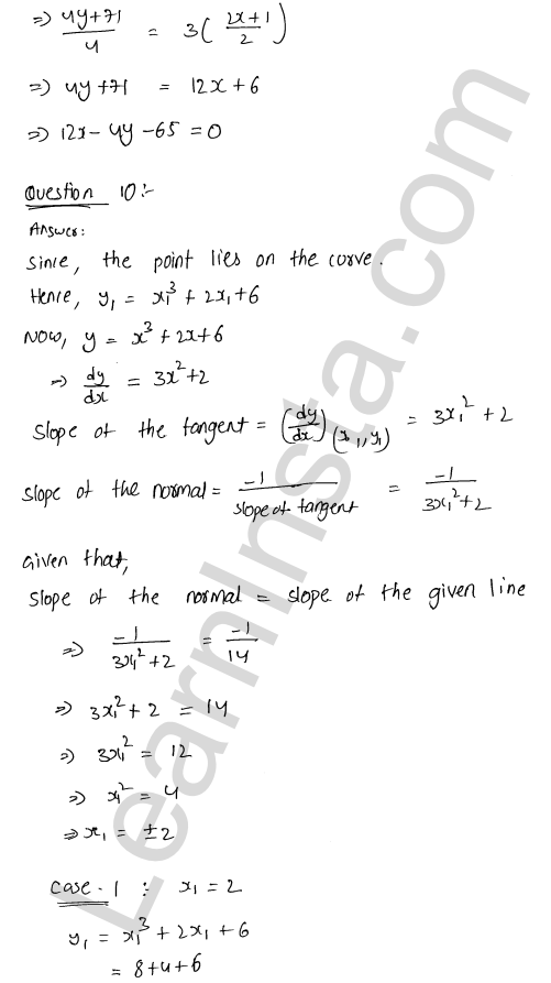 Class 12 RD Sharma maths solutions chapter 16 Tangents and Normals Ex 16.2 32