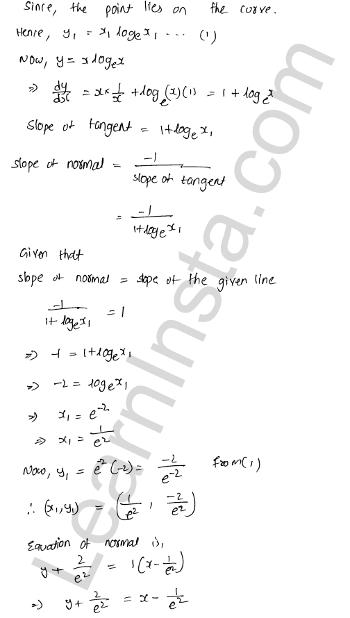 RD Sharma Class 12 Solutions Chapter 16 Tangents and Normals Ex 16.2 36
