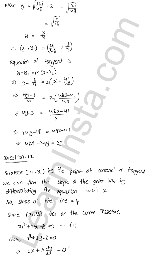 RD Sharma Class 12 Solutions Tangents and Normals Chapter 16 Ex 16.2 42