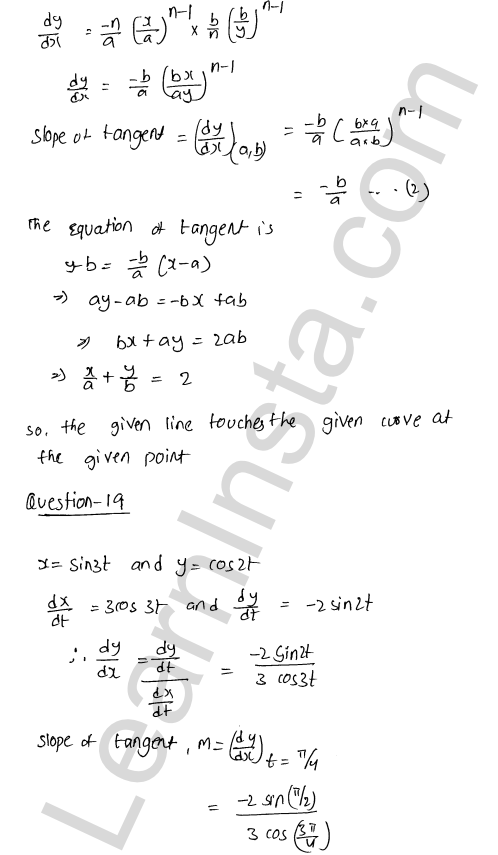 RD Sharma Class 12 Solutions Tangents and Normals Chapter 16 Ex 16.2 44