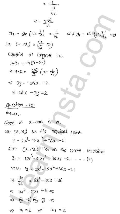RD Sharma Class 12 Solutions Tangents and Normals Chapter 16 Ex 16.2 45
