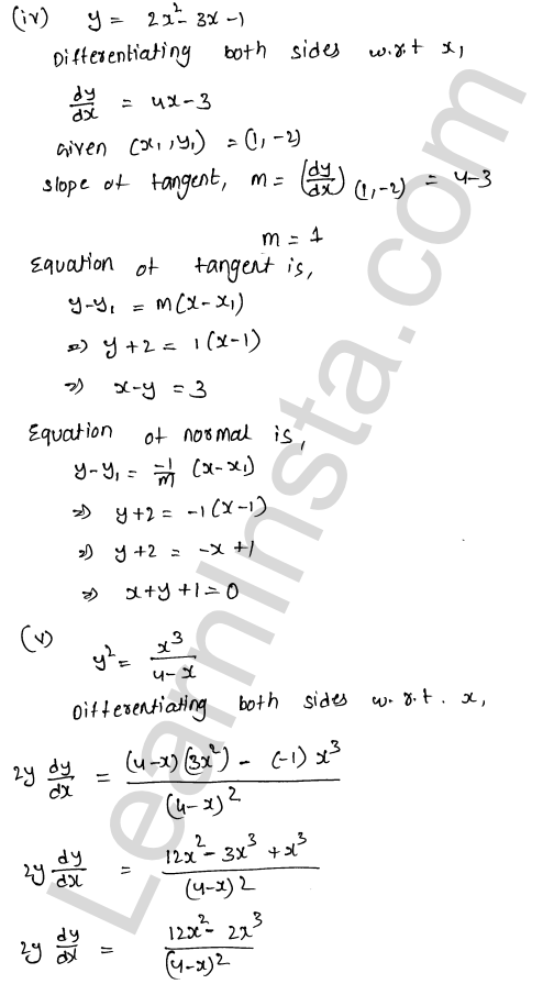RD Sharma Class 12 Solutions Chapter 16 Tangents and Normals Ex 16.2 5
