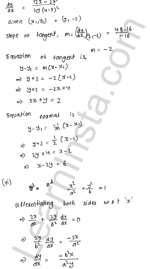 RD Sharma Class 12 Solutions Tangents and Normals Chapter 16 Ex 16.2 6