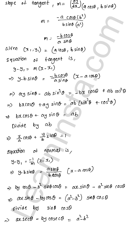 RD Sharma Class 12 Solutions Tangents and Normals Chapter 16 Ex 16.2 7