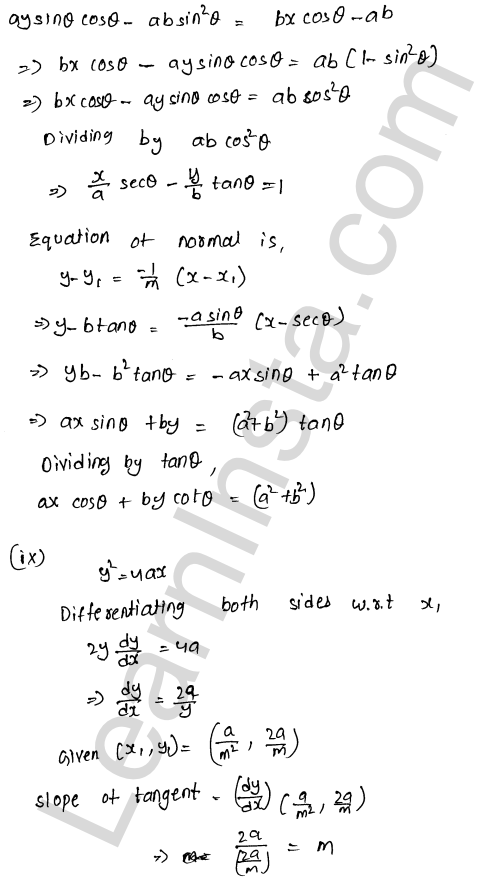 RD Sharma Class 12 Solutions Tangents and Normals Chapter 16 Ex 16.2 9