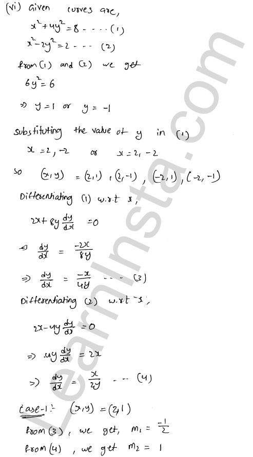 RD Sharma Solutions Class 12 Tangents and Normals Chapter 16 Ex 16.3 10