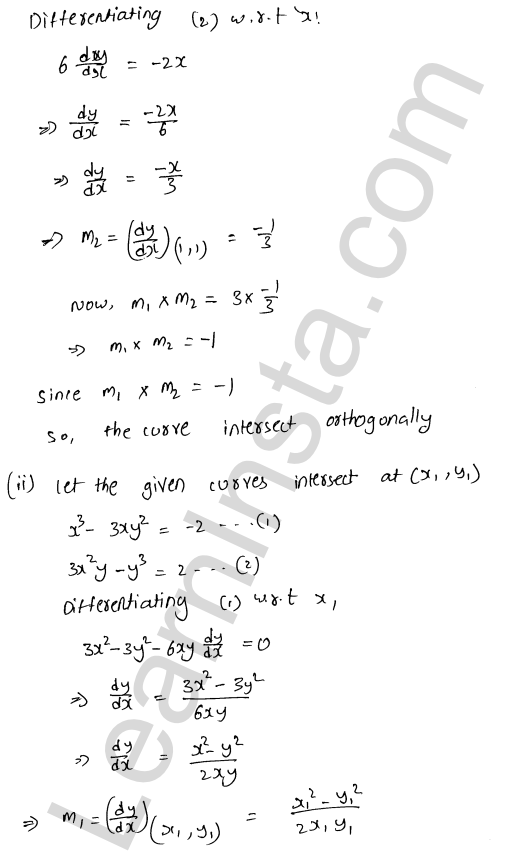 RD Sharma Class 12 Maths Solutions Chapter 16 Tangents and Normals Ex 16.3 16