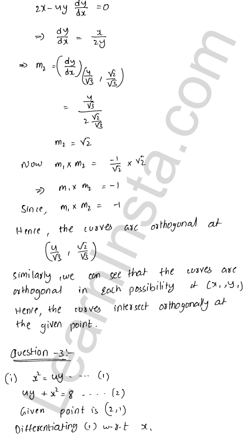 Solution of RD Sharma class 12 chapter 16 Tangents and Normals Ex 16.3 19