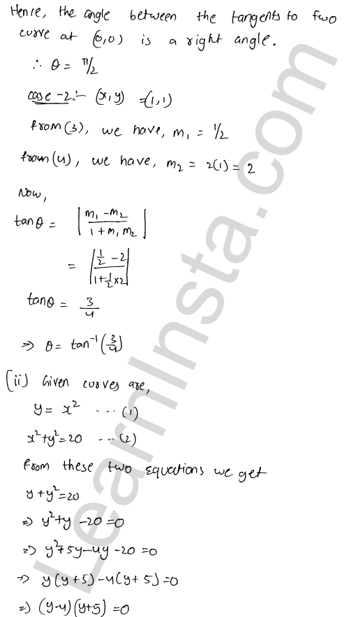 RD Sharma Class 12 Solutions Chapter 16 Tangents and Normals Ex 16.3 2