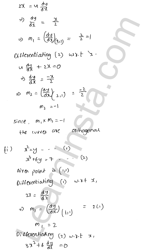 Solution of RD Sharma class 12 chapter 16 Tangents and Normals Ex 16.3 20