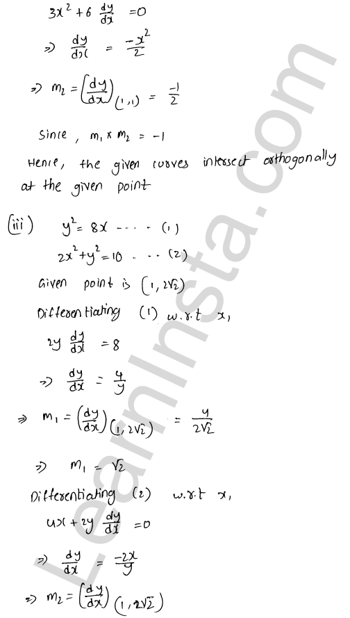 Class 12 RD Sharma solutions chapter 16 Tangents and Normals Ex 16.3 21