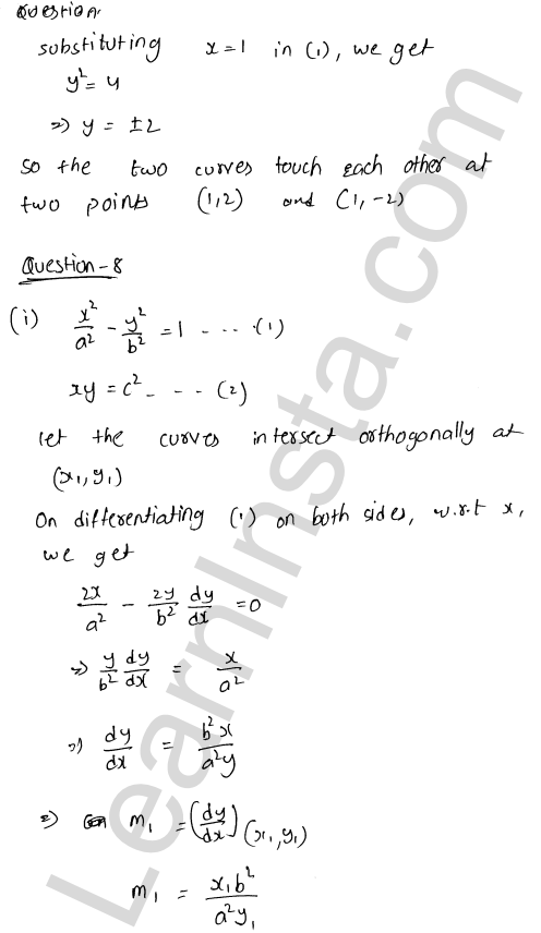 Class 12 RD Sharma maths solutions chapter 16 Tangents and Normals Ex 16.3 27