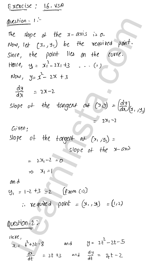 RD Sharma Class 12 Solutions Chapter 16 Tangents and Normals VSAQ 1