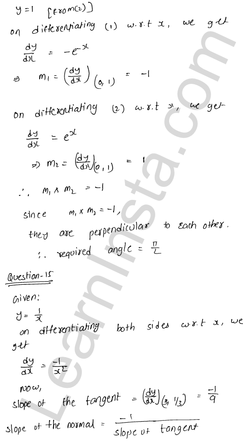 RD Sharma Solutions Class 12 Tangents and Normals Chapter 16 VSAQ 10