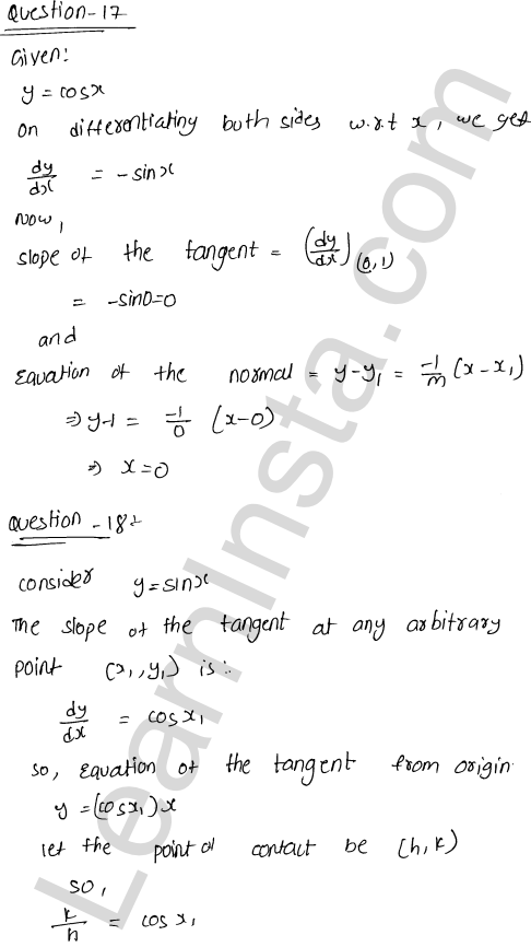 Solution of RD Sharma class 12 chapter 16 Tangents and Normals VSAQ 12