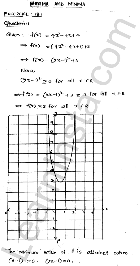 RD Sharma Class 12 Solutions Chapter 18 Maxima and Minima Ex 18.1 1