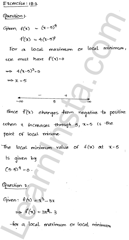 RD Sharma Class 12 Solutions Chapter 18 Maxima and Minima Ex 18.2 1