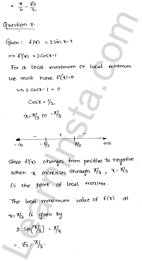 RD Sharma Class 12 Maths Solutions Chapter 18 Maxima and Minima Ex 18.2 11