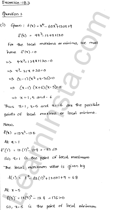 RD Sharma Class 12 Solutions Chapter 18 Maxima and Minima Ex 18.3 1
