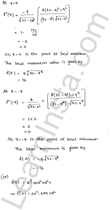 RD Sharma Class 12 Maths Solutions Chapter 18 Maxima and Minima Ex 18.3 10