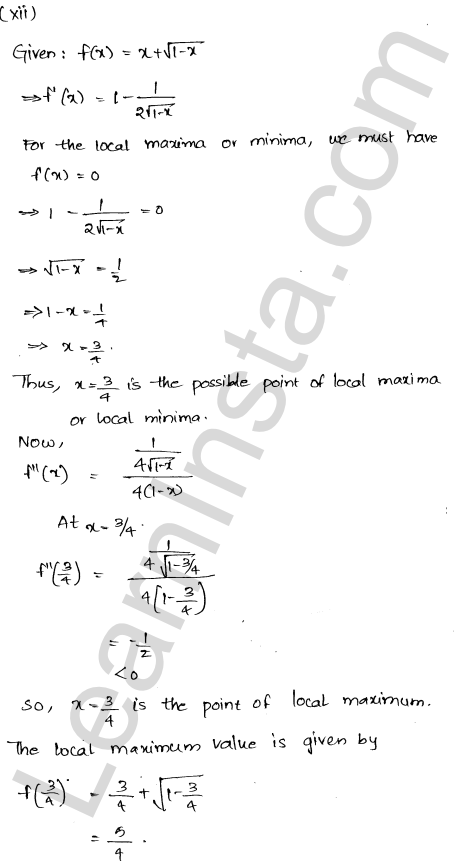 Class 12 RD Sharma maths solutions chapter 18 Maxima and Minima Ex 18.3 16