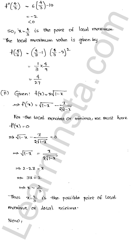 Class 12 RD Sharma maths solutions chapter 18 Maxima and Minima Ex 18.3 18