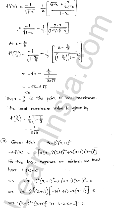 RD Sharma Class 12 Solutions Chapter 18 Maxima and Minima Ex 18.3 19