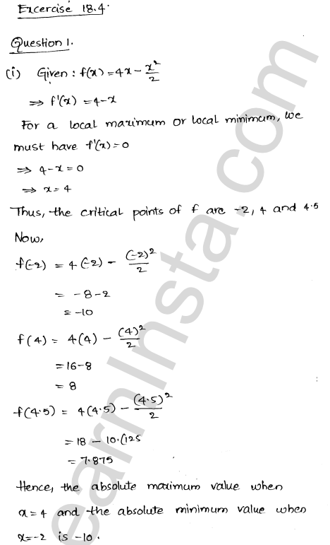 RD Sharma Class 12 Solutions Chapter 18 Maxima and Minima Ex 18.4 1