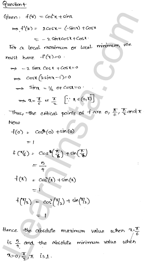 Class 12 RD Sharma solutions chapter 18 Maxima and Minima Ex 18.4 7