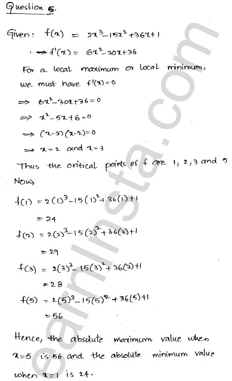Class 12 RD Sharma maths solutions chapter 18 Maxima and Minima Ex 18.4 8