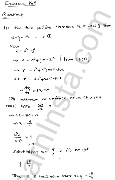 RD Sharma Class 12 Solutions Chapter 18 Maxima and Minima Ex 18.5 1