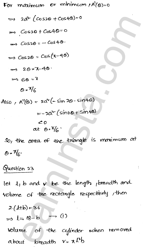 Class 12 RD Sharma maths solutions chapter 18 Maxima and Minima Ex 18.5 33