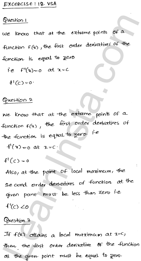 RD Sharma Class 12 Solutions Chapter 18 Maxima and Minima VSAQ 1