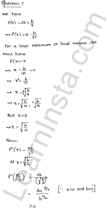 Solution of RD Sharma class 12 chapter 18 Maxima and Minima VSAQ 5