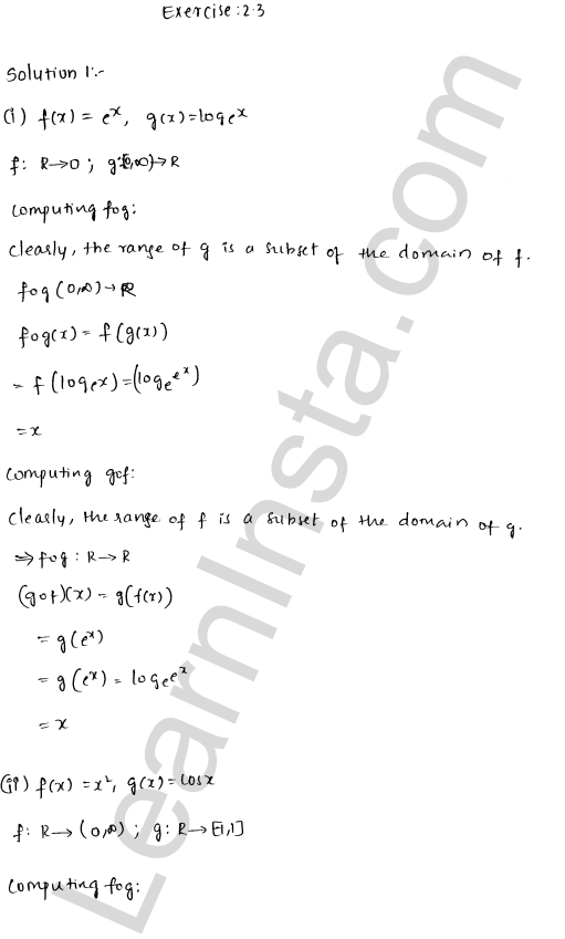RD Sharma Class 12 Solutions Chapter 2 Functions Ex 2.3 1
