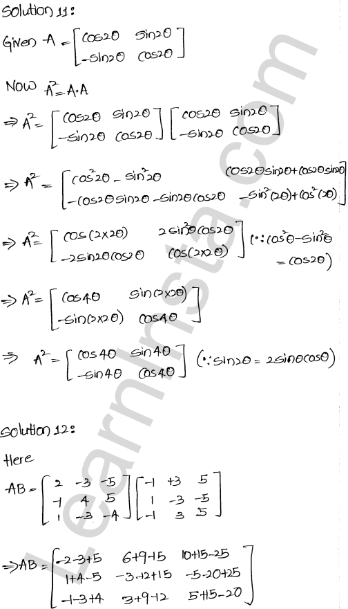 RD Sharma Class 12 Solutions Chapter 5 Algebra of Matrices Ex 5.3 12