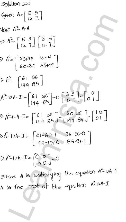 RD Sharma Solutions Class 12 Algebra of Matrices Chapter 5 Ex 5.3 32