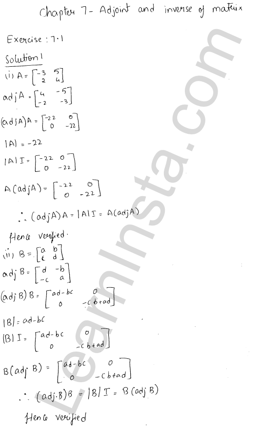 RD Sharma Class 12 Solutions Chapter 7 Adjoint and Inverse of a Matrix Ex 7.1 1