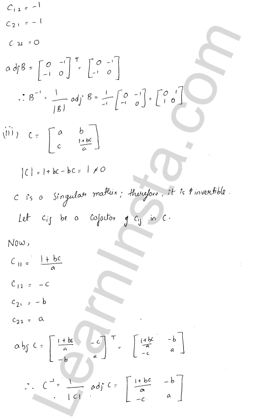 RD Sharma Class 12 Solutions Adjoint and Inverse of a Matrix 7 Ex 7.1 10
