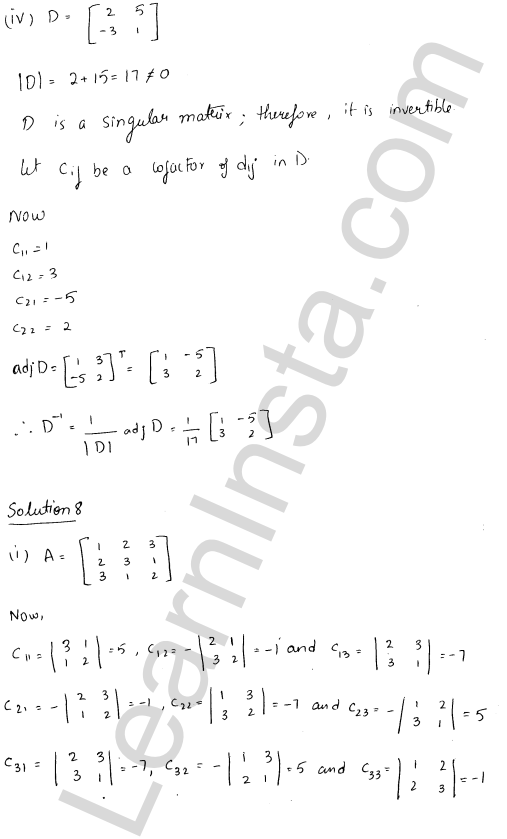 RD Sharma Class 12 Solutions Adjoint and Inverse of a Matrix 7 Ex 7.1 11