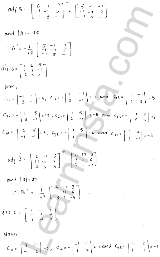 RD Sharma Solutions Class 12 Adjoint and Inverse of a Matrix 7 Ex 7.1 12